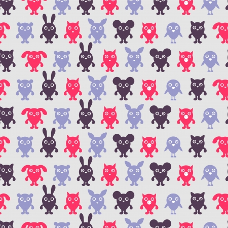 Seamless pattern with cute animal silhouettes