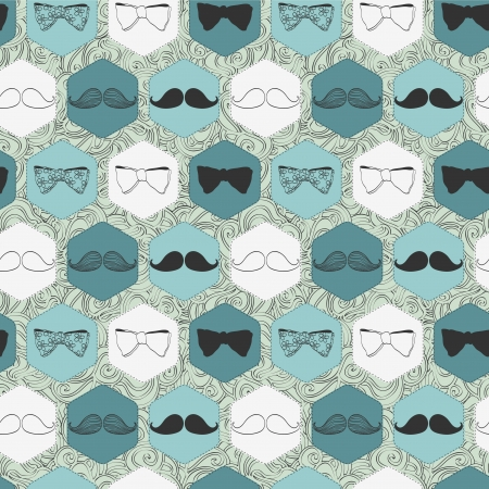 Decorative seamless pattern with bow ties and mustaches