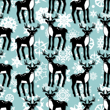 Cute christmas seamless pattern with deer Vector