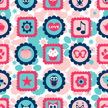 Seamless childish pattern with cute various stamps