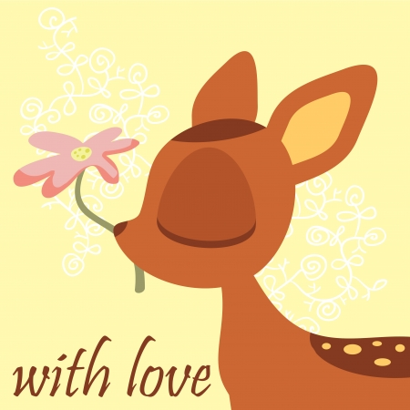 Cute fawn holding a flower