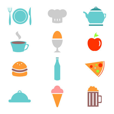 Colorful food icons set Vector