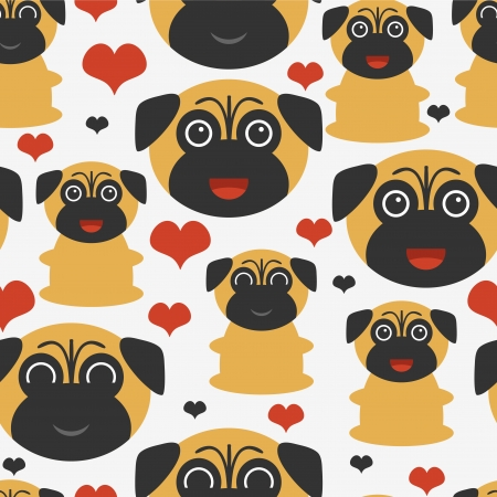 pug puppy: Seamless pattern with cute pugs Illustration
