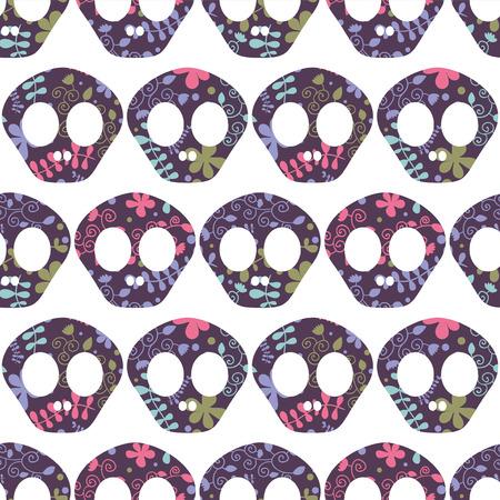 Seamless pattern with human skulls Vector