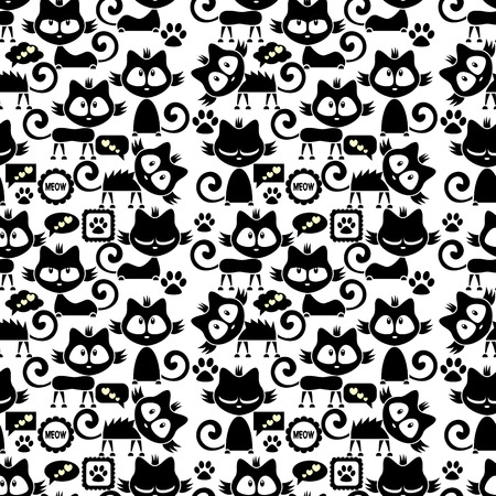 Seamless pattern with cute funny cartoon kittens