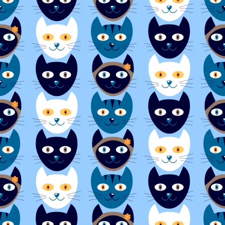 Seamless pattern with cute kitty heads Vector
