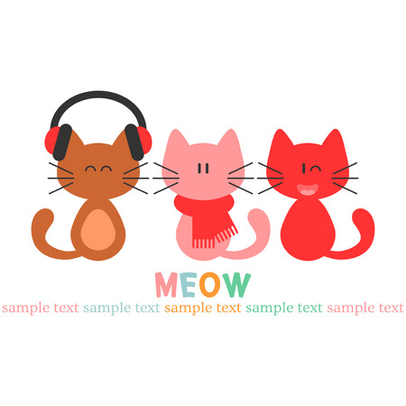 Card with three cute kittens Vector