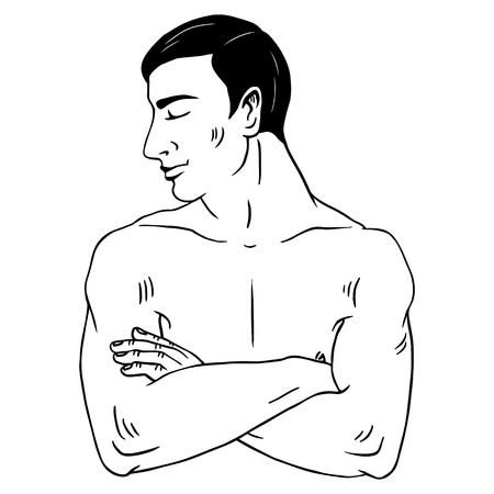 Sexy topless man with crossed arms Vector