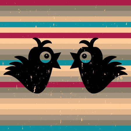 Two cute birds on stripey background Vector