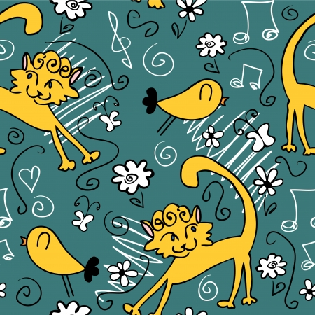 Seamless pattern with cute drawings of cats and birds Vector