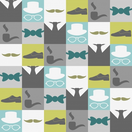 Dandy elements beautiful seamless pattern male fashion Vector