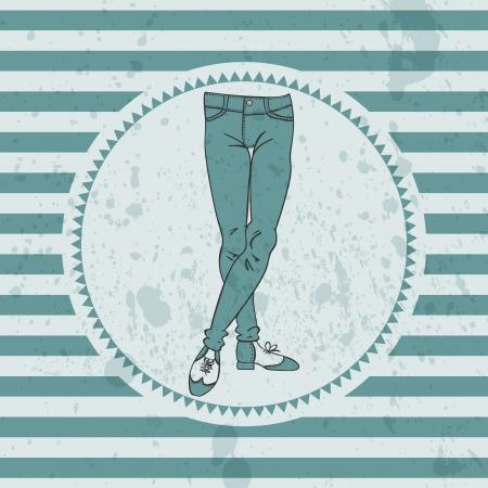skinny jeans: Tarjeta retra con las piernas masculinas en jeans ajustados