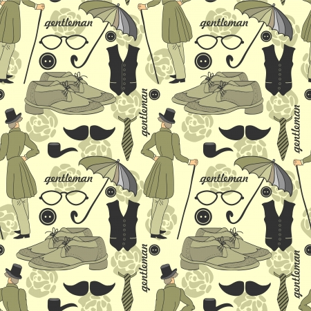 dandy: Dandy style beautiful vintage seamless pattern
