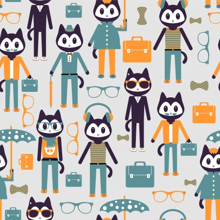 Seamless pattern with cute stylish kitties Vector