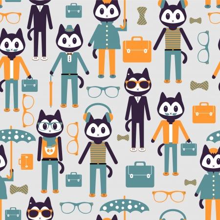 Seamless pattern with cute stylish kitties Vector