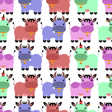 Seamless pattern with sweet colorful cartoon cows Vector