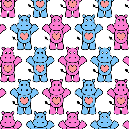 Cute romantic seamless pattern with little hippos Vector