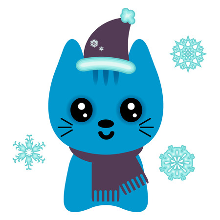 Christmas card with cute kitty in Santa hat Vector