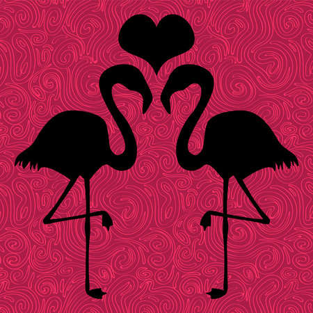 Romantic illustration two flamingos in love Vector