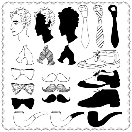 Hand drawn collection of gentleman Vector