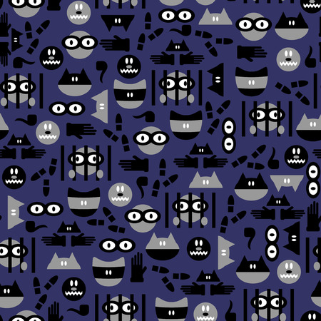 Funny seamless pattern with criminals Vector
