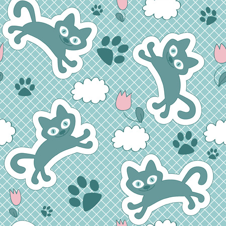 Cute seamless pattern with floating kittens Vector