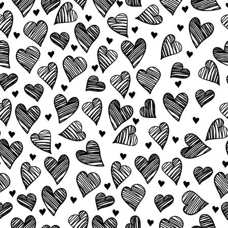 romantic: Romantic doodle hearts cute seamless pattern