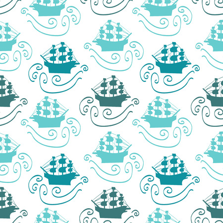 Seamless pattern with ships in the sea Vector