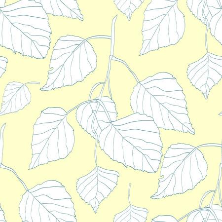 babyish: Decorative seamless pattern with birch leaves Illustration