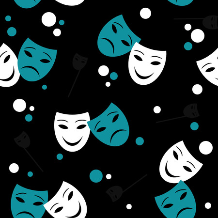 Seamless pattern with theatre masks Vector