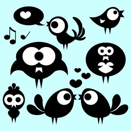 babyish animal: Set of cute funny birds