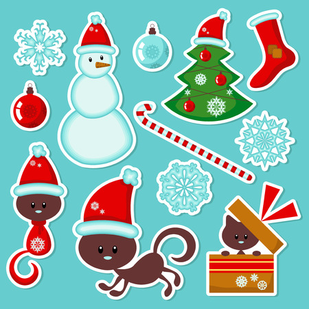 Cute Christmas stickers set Vector