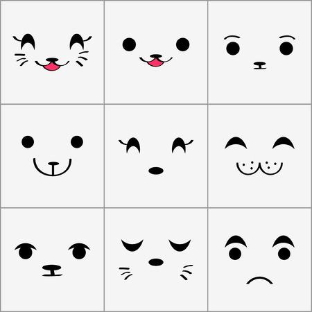 cute animals: Cute animal faces set Illustration