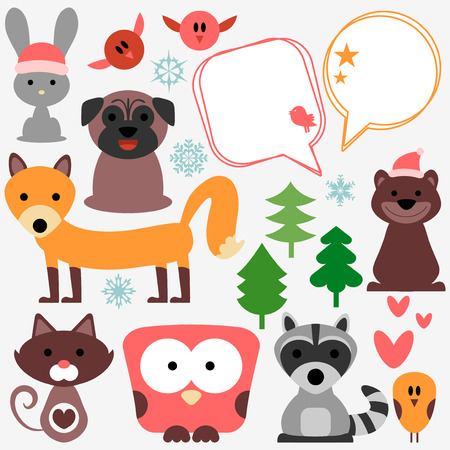 Set of cute animals and birds Vector