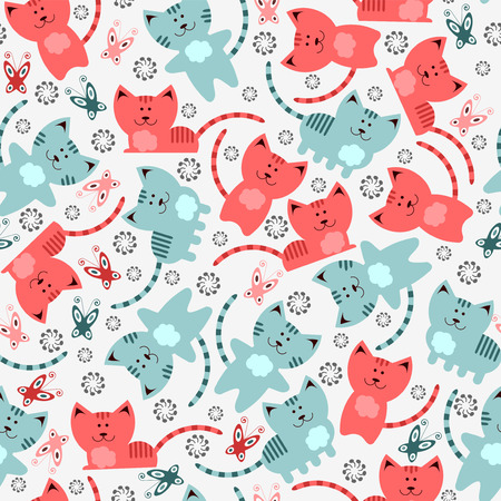 Seamless pattern with cute kittens Ilustrace