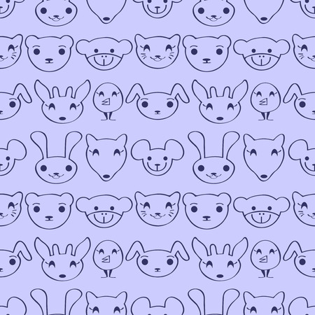 Cute childish seamless pattern with animal faces