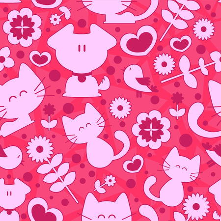 Sweet seamless pattern cute animals and romantic elements Vector