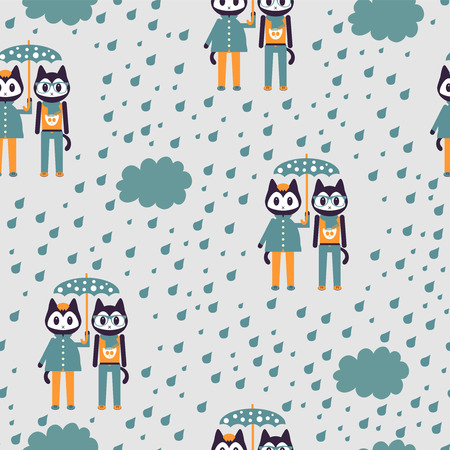 Seamless pattern with two cute stylish kittens under umbrella Vector