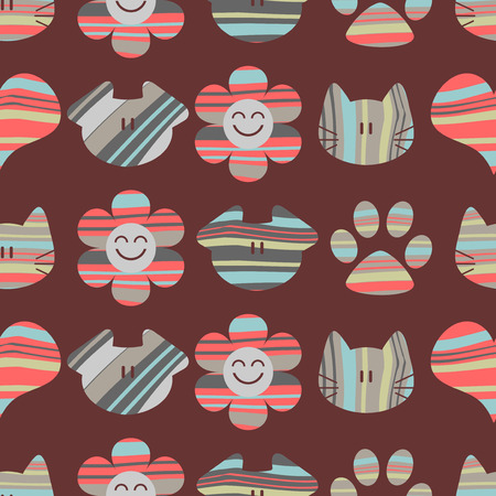 Seamless childish pattern with cute cats and dogs Vector