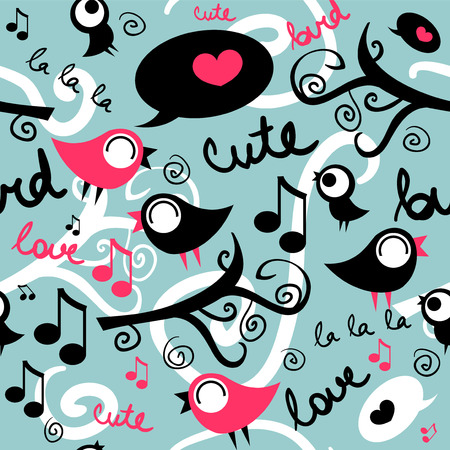 Seamless pattern with cute singing birds Vector
