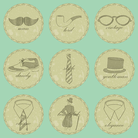 dandy: Beautiful vintage dandy icons for gentlemen