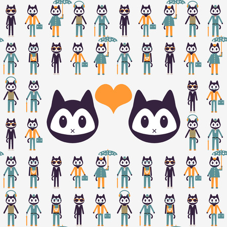 Illustration with stylish kittens in love Vector