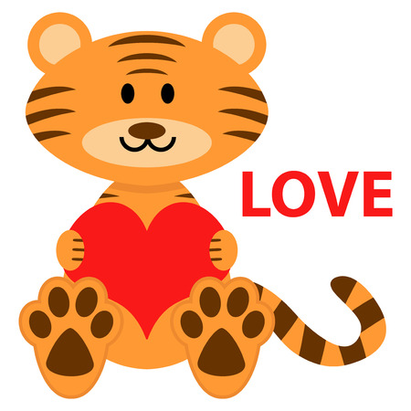 Romantic illustration of cute little tiger in love
