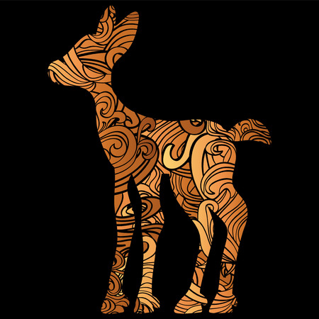 Silhouette of a fawn filled with decorative texture