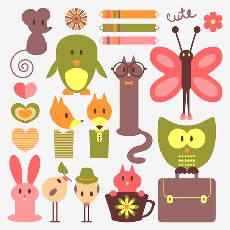 funny animal: Animales divertidos y elementos del libro de recuerdos lindos fijados Vectores