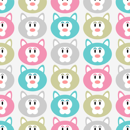 Seamless pattern with cute kitty faces Vector
