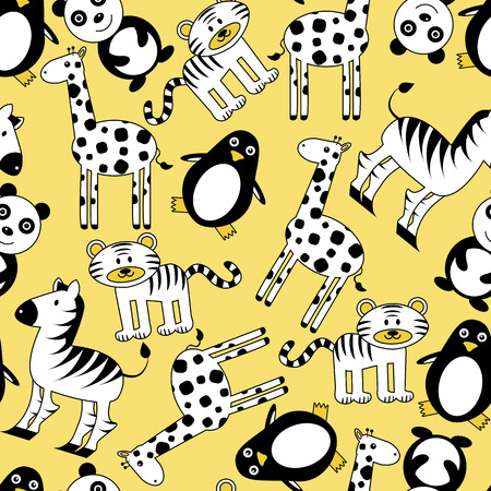 Seamless pattern with cute wild animals Vector
