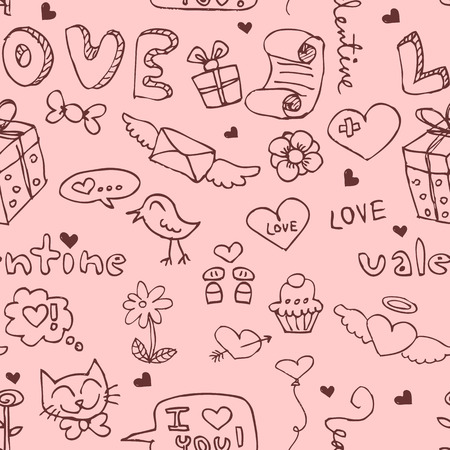 Romantic seamless pattern with doodles Vector