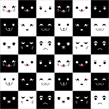 Seamless pattern with cute cartoon animal faces Vector
