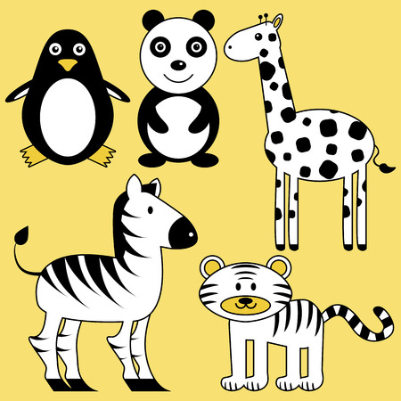 Set of cute wild black and white animals Vector